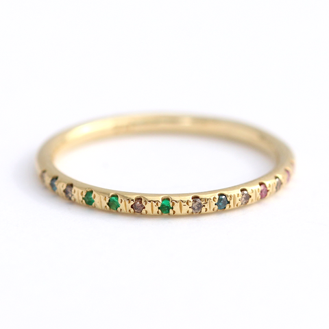 Tiny Diamonds And Emeralds Ring