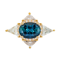 Teal Sapphire Deco Ring with Triangle Diamonds