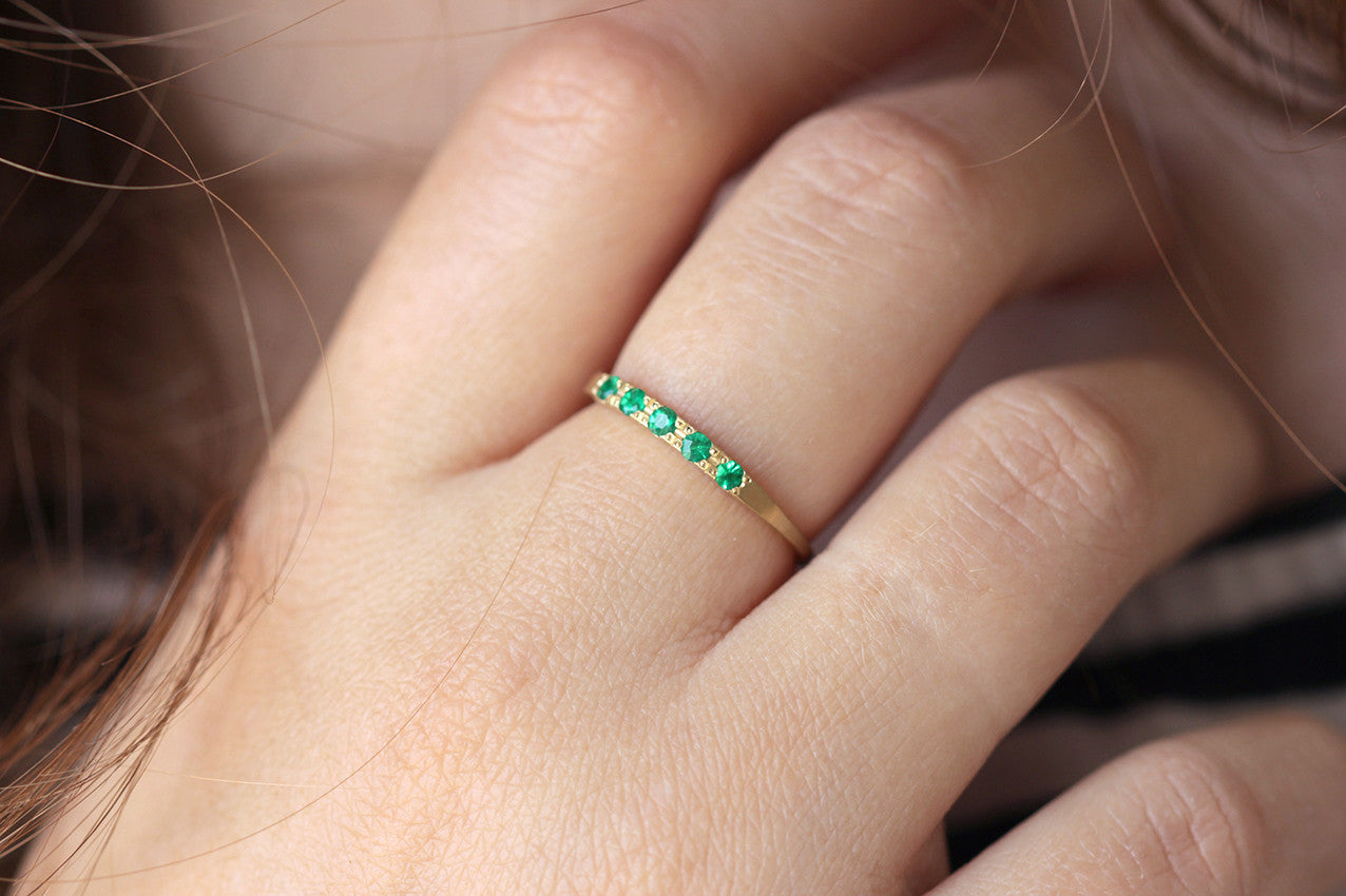 Tiny Emeralds Ring -  Emerald Ring Band