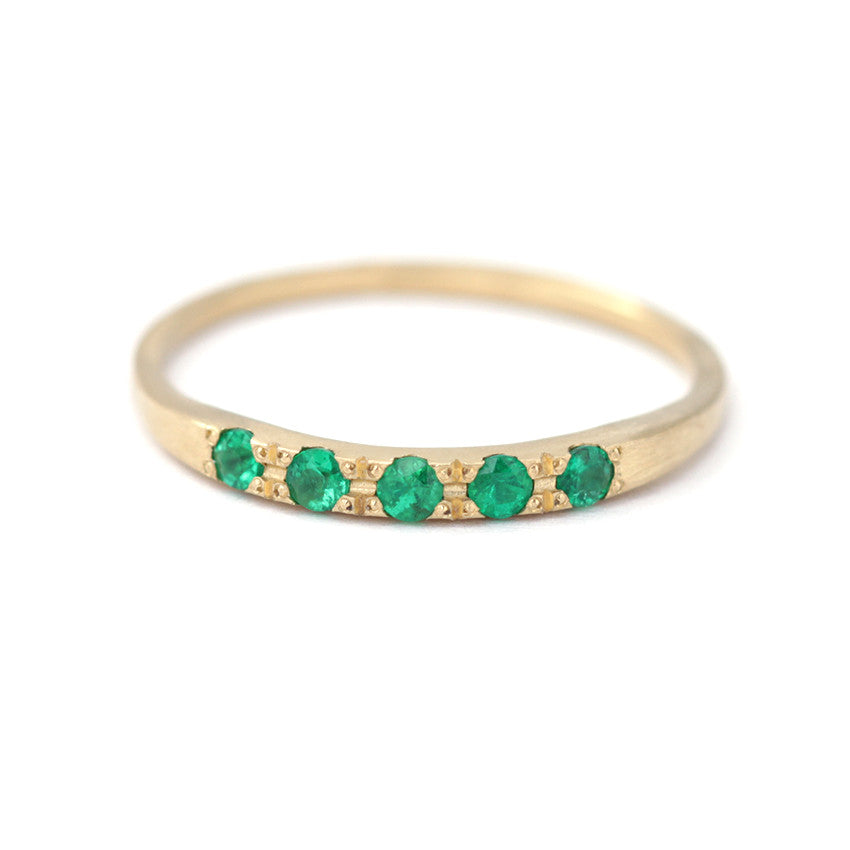 Tiny Emeralds Ring Emerald Ring Band Artemer