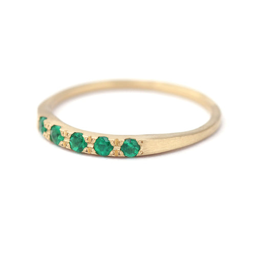 Tiny Emeralds Ring-Emerald Ring Band