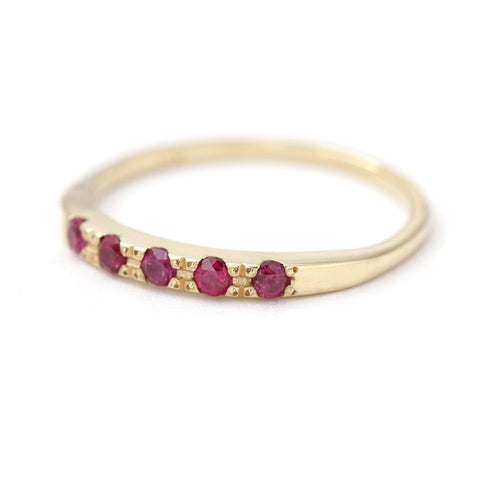 Ruby Ring - Tiny Ruby Wedding Ring