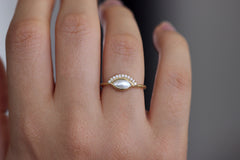 Front View Of Pearl Engagement Ring