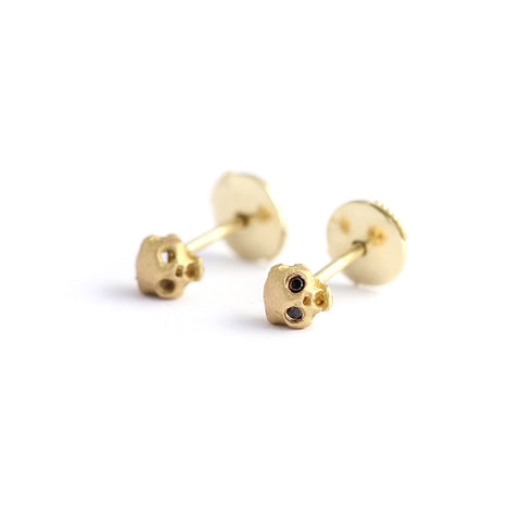 Gold Cat Skull Earrings