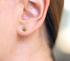 Turquoise Stud Earrings On Ear