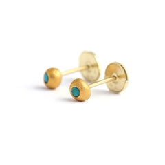 Turquoise Stud Earrings in Pure Gold