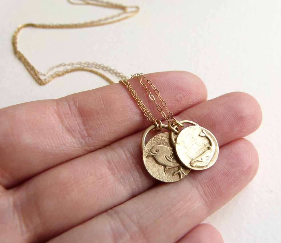 Gold Bird Necklace with Whale
