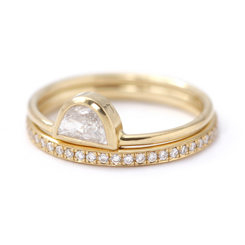 Halbmond Diamant-Ring-Set