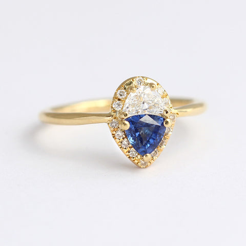 Half Moon Diamond Engagement Ring with Trillion Blue Sapphire