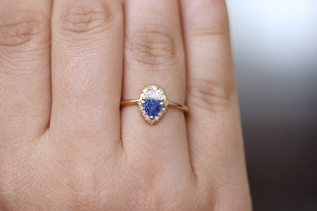 Half Moon Diamond Engagement Ring with Trillion Blue Sapphire – ARTEMER