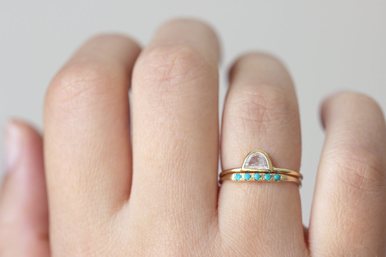 Half Moon Diamond Ring - Boho Engagement Ring