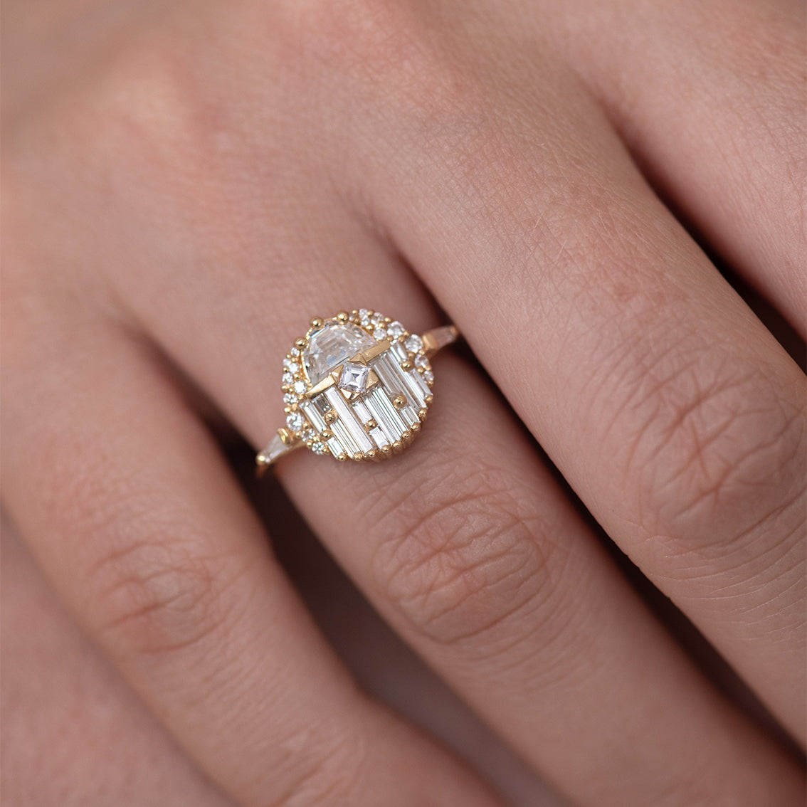 Engagement Ring with Half Moon Diamond - The Aztec Temple Ring on finger