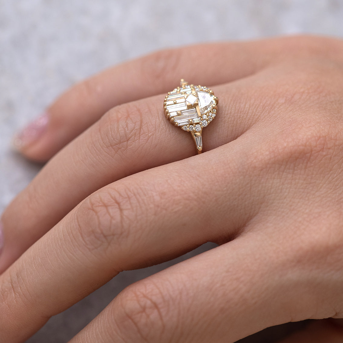 Engagement Ring with Half Moon Diamond - The Aztec Temple Ring last finger.jpg