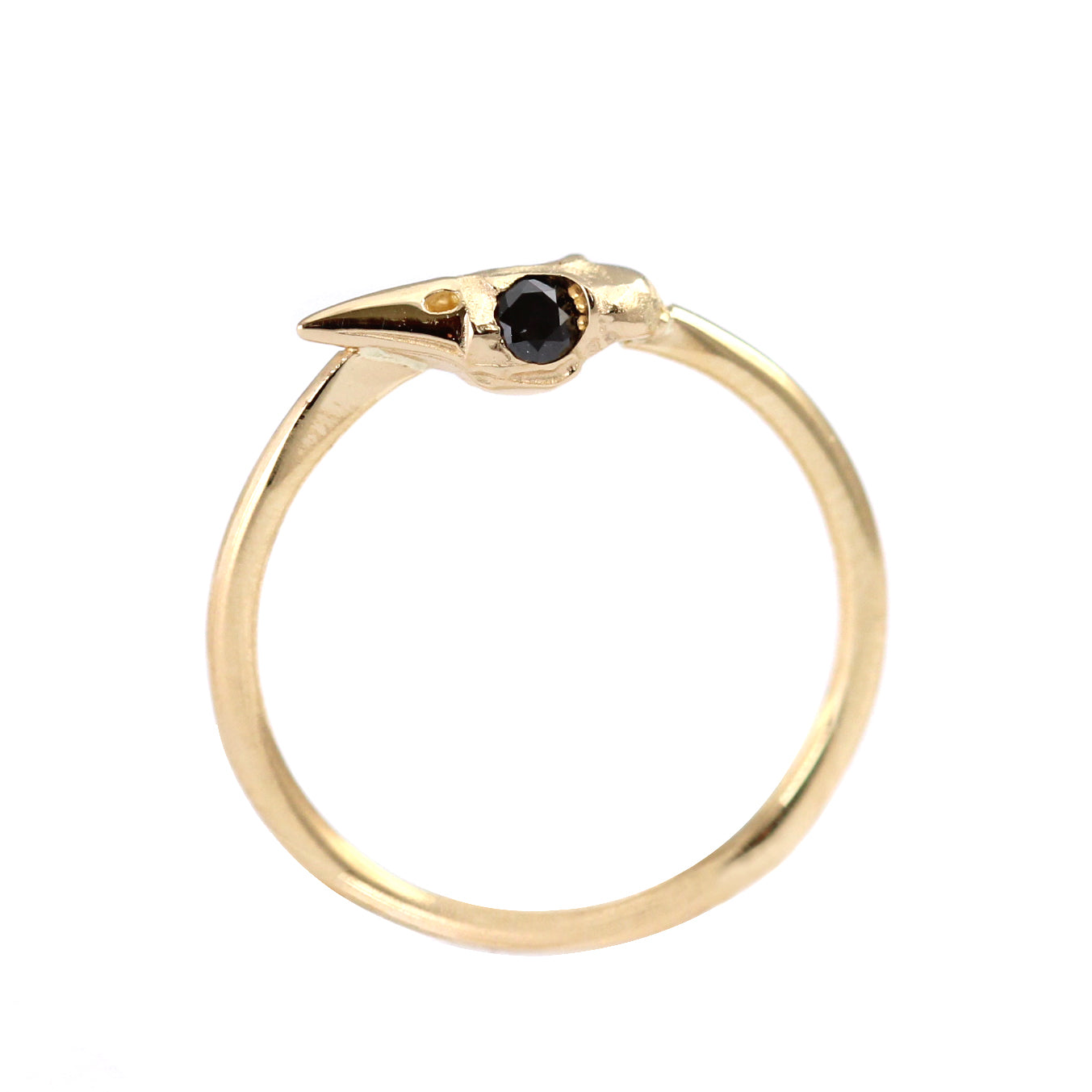 Vertical View Of Dainty Gothic Gold Ring
