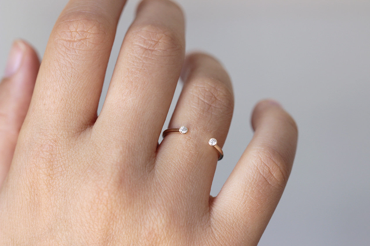 open wedding ring on finger