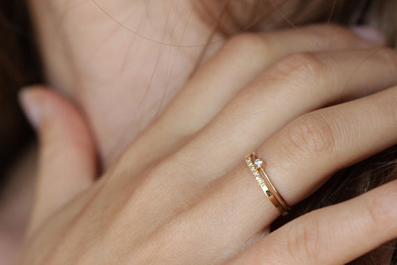 Thin Gold Diamond Ring Set on hand