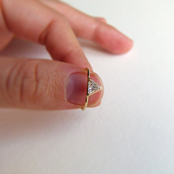 0.25 carat triangle diamond ring