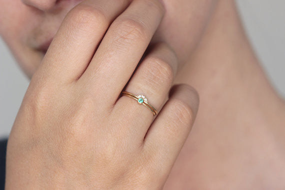 thin gold emerald ring for her