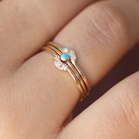 Turquoise wedding ring set