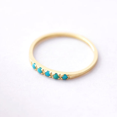 Turquoise Wedding Ring - Pave Turquoise Ring