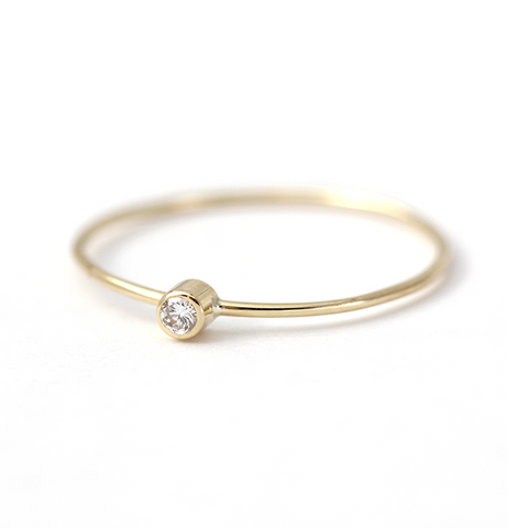 Thin Gold Diamond Ring