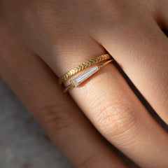 Tapered Baguette Diamond Ring - OOAK in Set Up Close Frontal View
