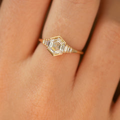 Hexagon step cut engagement ring2