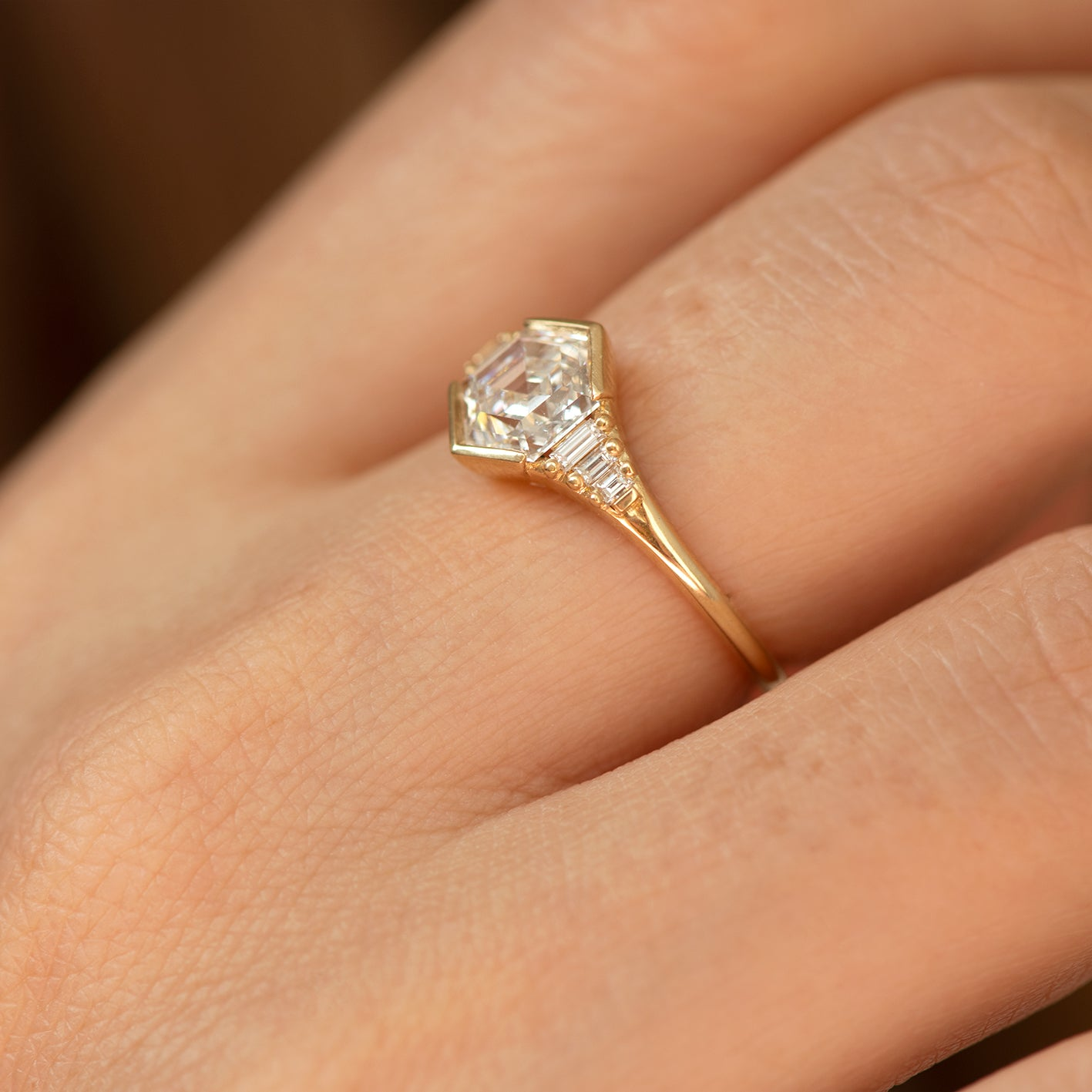 Hexagon step cut engagement ring3