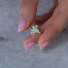 OOAK mint green Pagoda Diamond Ring8