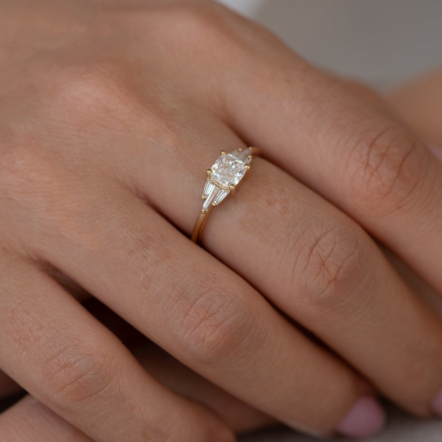 Deco Engagement Ring with Cushion Diamond7