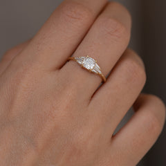 Deco Engagement Ring with Cushion Diamond8