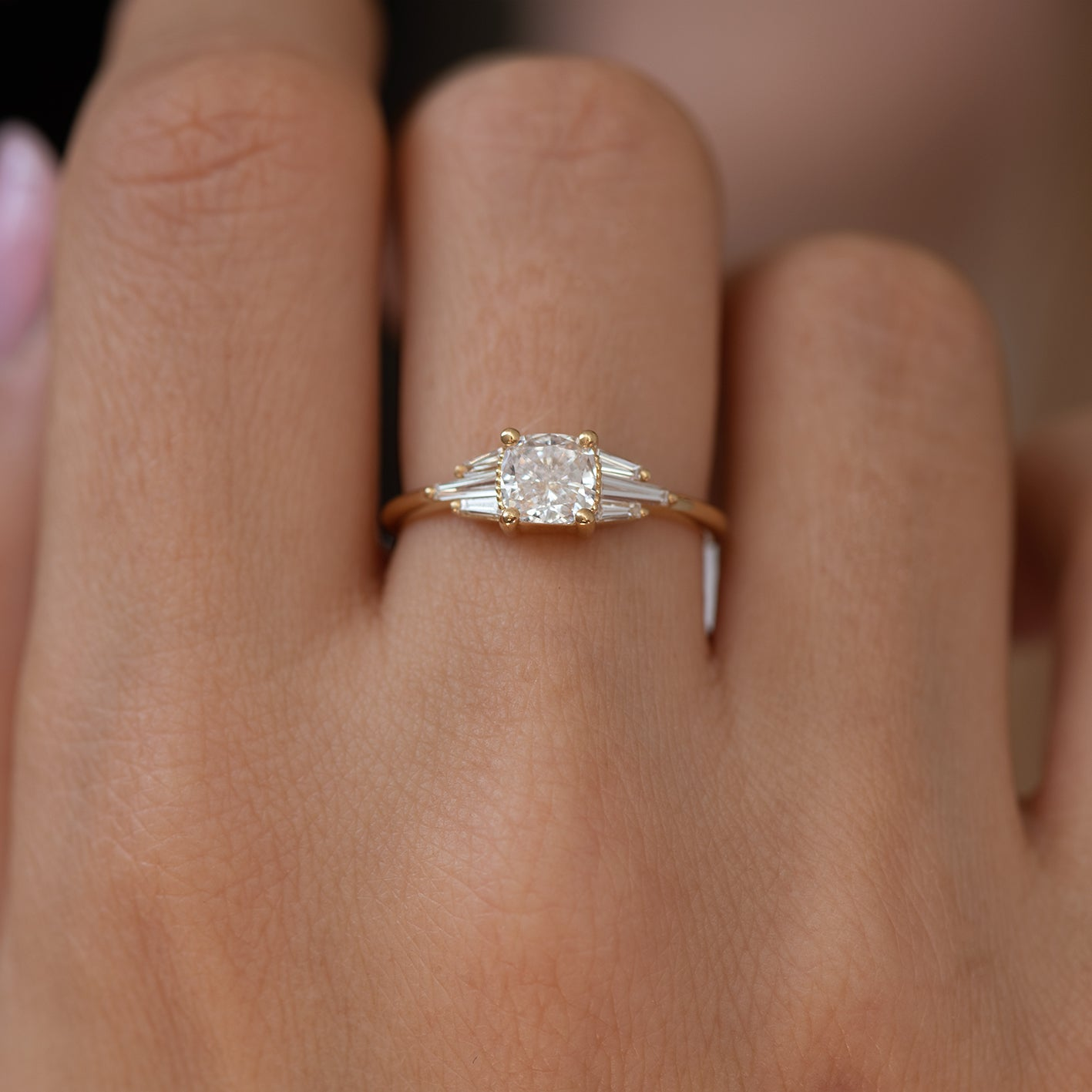 Deco Engagement Ring with Cushion Diamond4