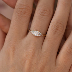 Deco Engagement Ring with Cushion Diamond2