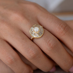 Halo Engagement Ring with Baguette Diamonds3