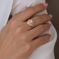 Halo Engagement Ring with Baguette Diamonds7