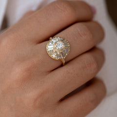 Halo Engagement Ring with Baguette Diamonds8