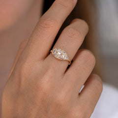 Reflective Dome Ring with Ten Triangle Cut Diamonds2