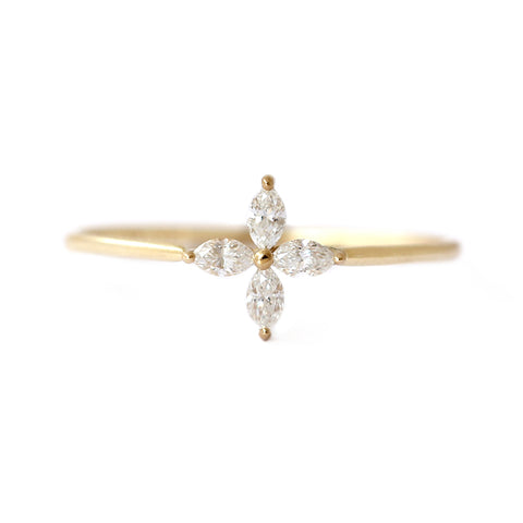 Marquise Diamond Engagement Ring with Four Diamonds