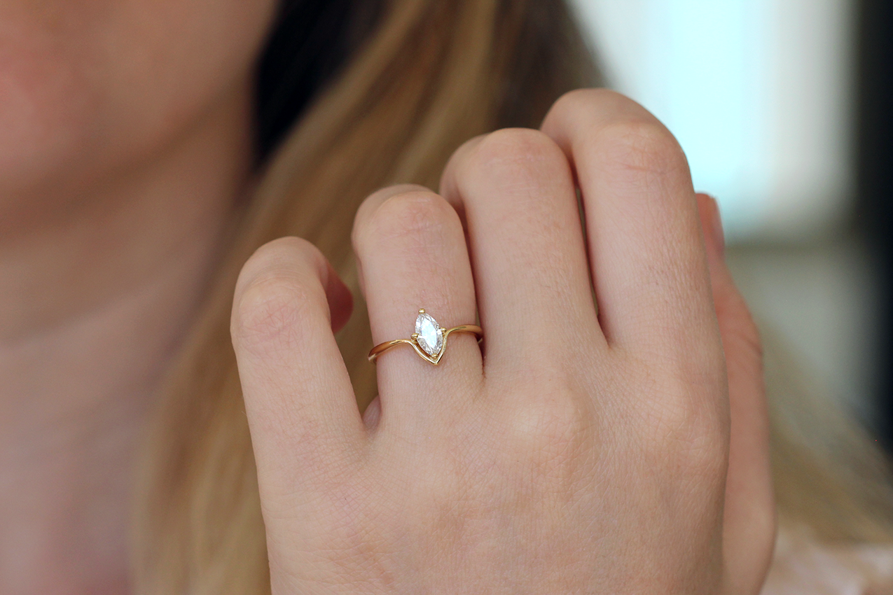Marquise Cut Ring On Hand