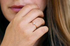 marquise engagement ring on hand