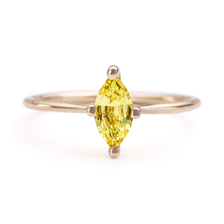 Minimalist Engagement Ring Yellow Marquise Sapphire Ring Artemer