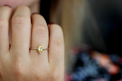 Yellow Marquise Sapphire Ring on finger