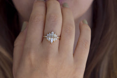 Marquise Diamond Cluster Engagement Ring with Grey Diamonds