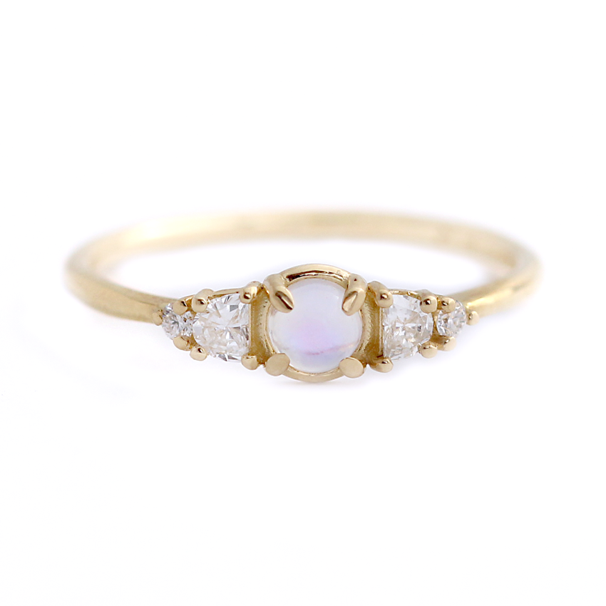 Moonstone Diamond Engagement Ring