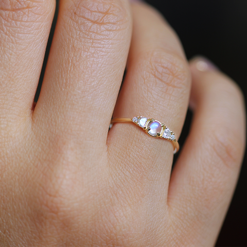 Half Moon Diamonds Ring on finger