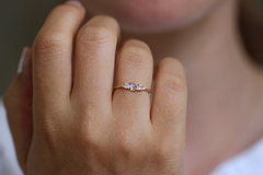 Moonstone Engagement Ring on finger