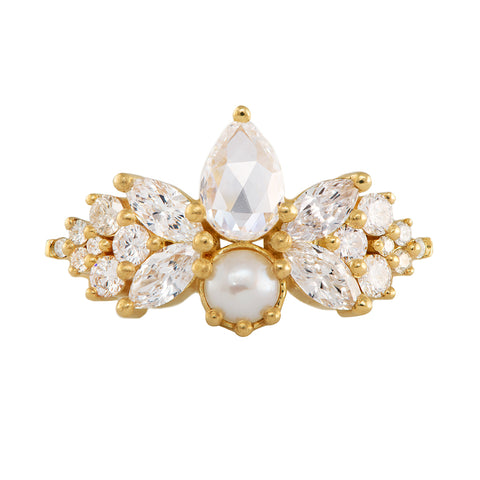 Rose Cut Diamond Ring with Freshwater Pearl - Diamond Butterfly