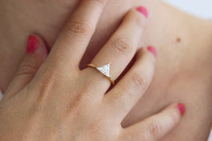 Triangle Diamond Ring on finger