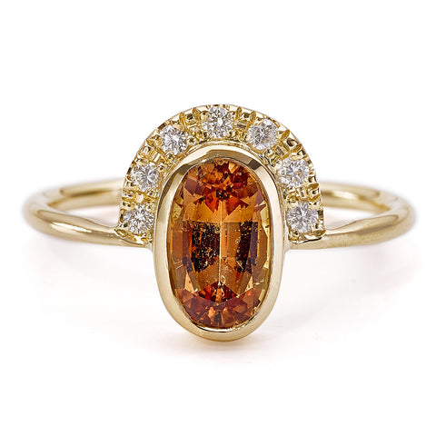 OOAK Brown Sapphire Engagement Ring with Pave Diamonds