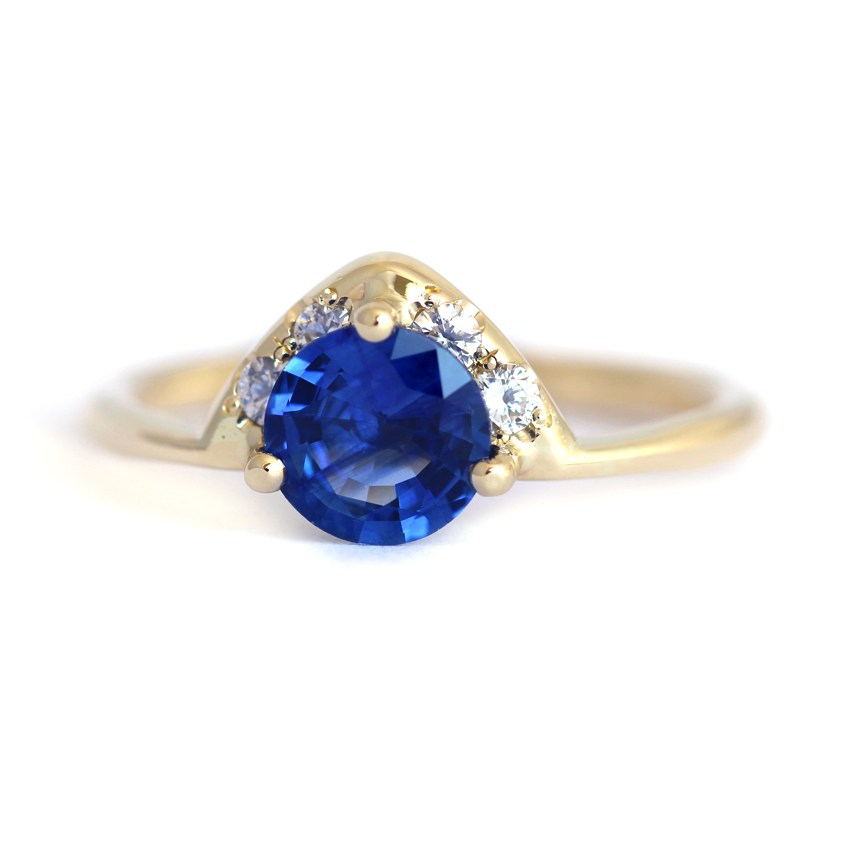 diamond blue sapphire gold one birthday ring media antique engagement genuine september halo carat